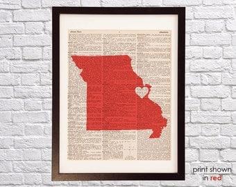 St. Louis Dictionary Print - Missouri Art - Print on Vintage Dictionary Paper - I Heart Saint Louis Wall Art - St Louis Cardinals Red