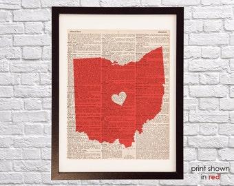 Ohio Dictionary Art Print - Cincinnati Art - Print on Vintage Dictionary Paper - I Heart Cincinnati - Columbus, Cleveland, Akron, Athens