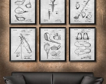 SET of 6 GOLF Vintage Patent Illustration, Art Print or Canvas, Wall Art Decor, Golfer Gift, Golf Club, Golf Ball, Tee, Golfing Gift - s20