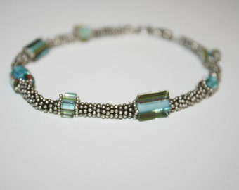 8.5 in Sterling Silver Beaded Bracelet with Blue Beads
