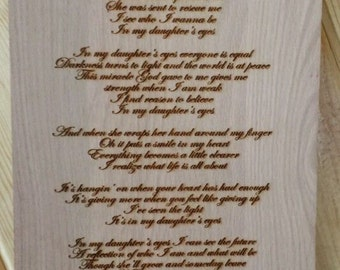 Laser Engraved Plaque - In My Daughter's Eyes