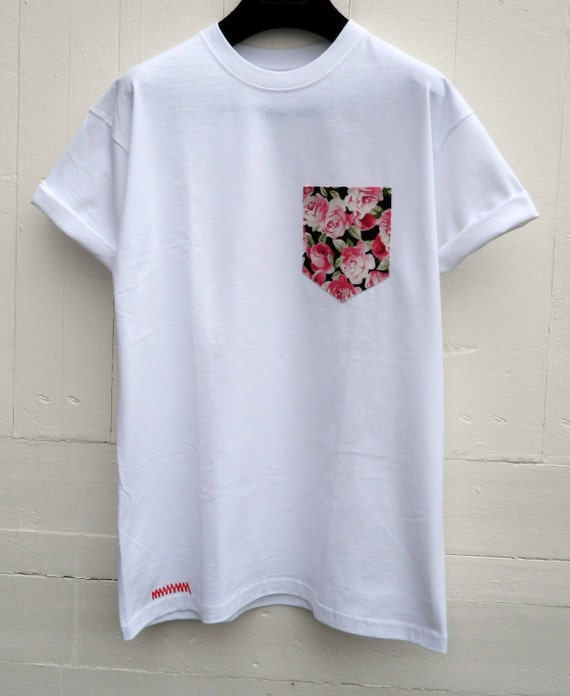 Men 39 s pink roses floral pattern white pocket t shirt for Mens white floral shirt