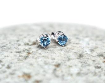Tiny Stud Earrings -December Birthstone Earrings, Crystal Earring, Sky Blue Topaz Earrings, Sterling Silver Gemstone Earrings