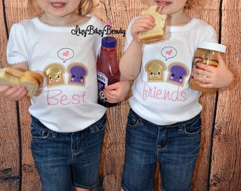 Twin girls sister sibling best friends peanut butter and jelly shirts headband
