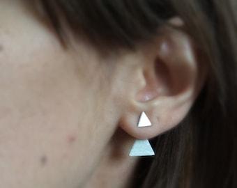Sterling silver ear jackets, triangle ear jackets, triangle post earrings, stud earrings, minimalist earrings, geometric earrings