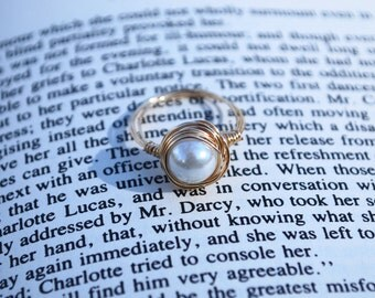Pearl Ring - White Pearl Ring - Pearl Wire Ring - White Pearl Wire Ring - Pearl Jewelry - Wire Jewelry - Gold Wire Ring - Bridesmaids Ring