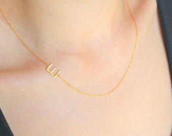 Gold Sideways Initial Necklace, Initials necklace, Gold Initial Necklace, Letter Necklace, Personalized Bridesmaids Gifts, Christmas Gift