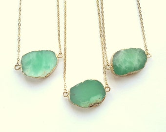 Chrysoprase Necklace Chrysoprase Pendant Mint Green Stone Necklace Rough Raw Stone Slice Pendant Gold Edged Mint Chrysoprase Jewelry
