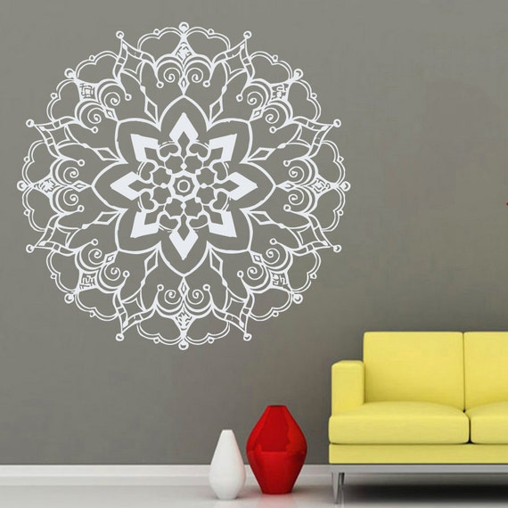 Wall decals mandala yoga namaste indian geometric moroccan - Mandalas para pared ...