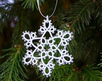 White Tatted Snowflake Christmas Tree Decoration Alice