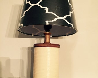 Vintage Antique Wood Spool Table Lamp