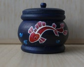 Seaside Tiny Round Blue Hand-Painted Wooden Trinket Box, Tooth Fairy Box, Ring Box, Fish / Star Fish / Sea / Ocean, Art & Collectibles