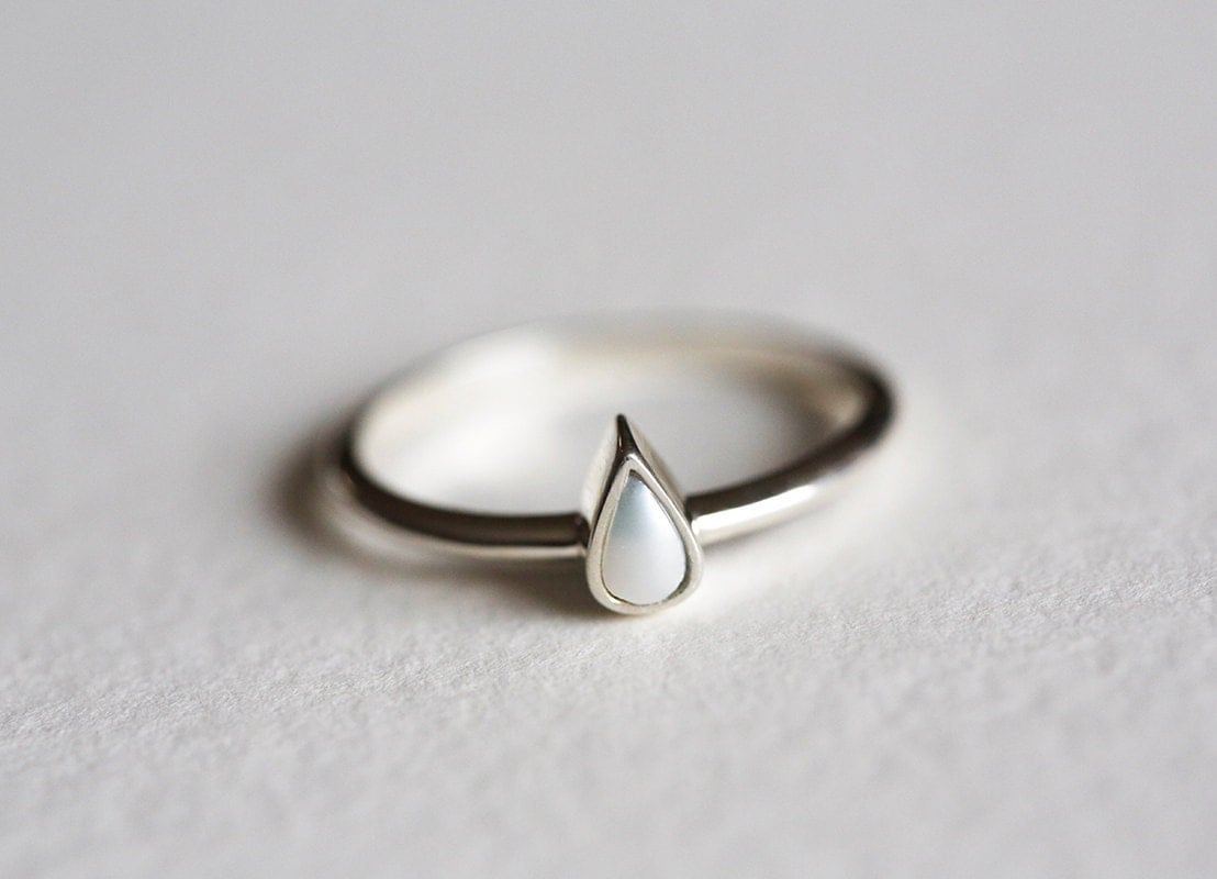 Silver Engagement Ring, Pearl Wedding Ring, 🔎zoom