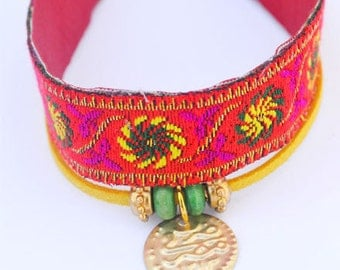 Orange India Embroidered Sari Silk Charm Bracelet