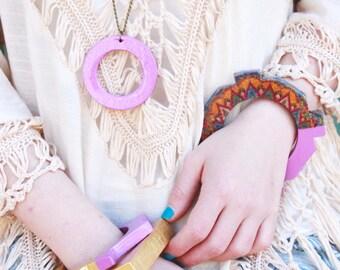 Wooden bangle acrylic wooden jewelry bohemian bracelet wooden bracelet decoupage bangle gift for her colorblock jewelry summer jewelry