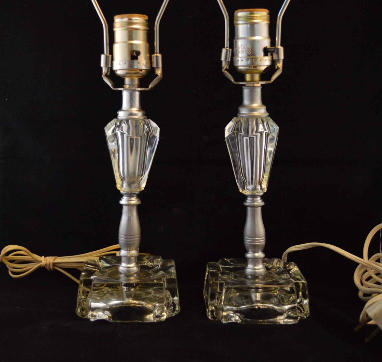 Vanity Lamps Vintage : Pair of Vintage Bedroom Vanity Glass Table Lamps Hollywood