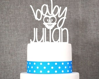 Custom Baby Name Topper with Owl - Baby Cake Topper by Chicago Factory- (T140)