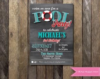 Chalkboard Birthday Invitation Pool Party Invitation, Pool Party Birthday, Pool Party Invitation, Chalkboard Invitation, Digital Printable