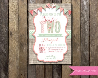 Tea Party Invitation, Second Birthday Invitation, Shabby Chic, Vintage, 2nd Birthday Invite, TWO, Flowers, Tea Party, Lace, Burlap, Floral