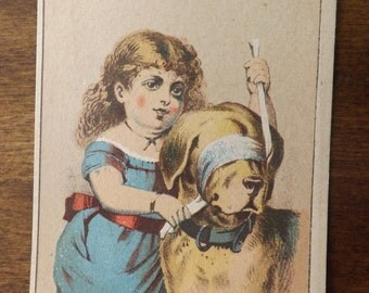 Vintage One Of A Kind Victorian Girl With Dog And Blindfold_Young Victorian Girl In Blue Dress With Lab