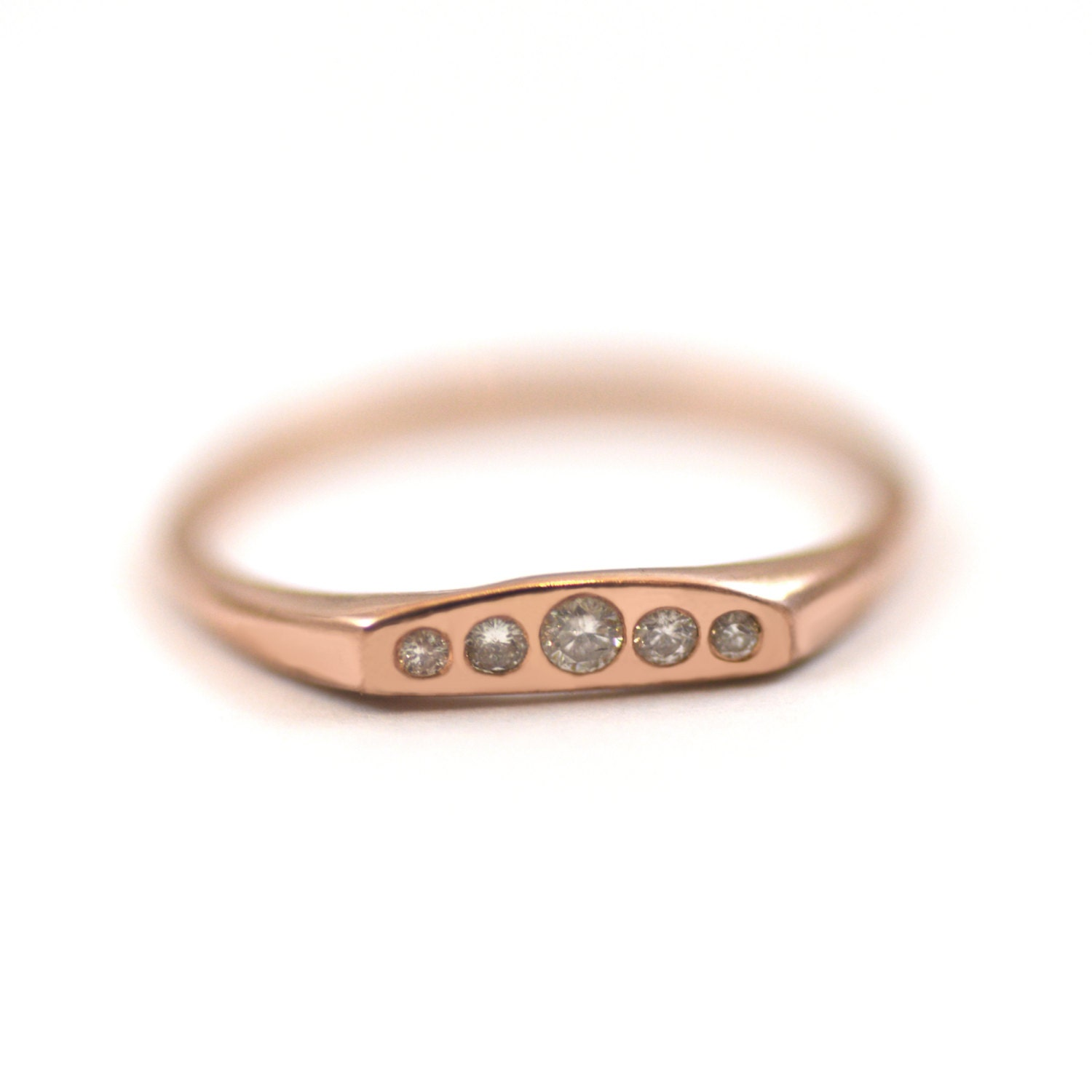 14k Rose Gold Diamond Curve Wedding Ring