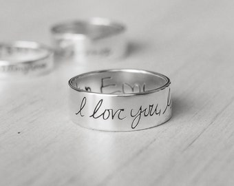Actual Handwriting Band Ring - Personalized Memorial Jewelry  - Sympathy Gift PR01B