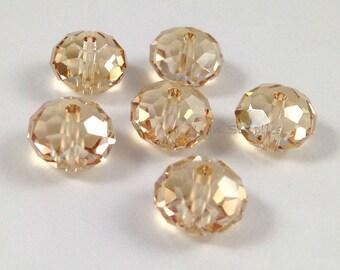 5040 GOLDEN SHADOW 6mm 12pieces Swarovski Crystal Donut Rondelle Spacers