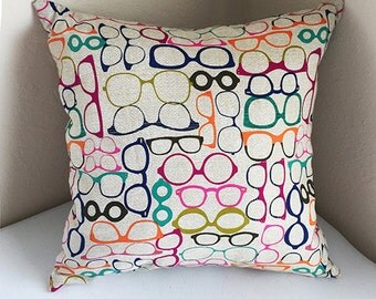 Assorted Glasses Patterned Semi-Vintage Cushion Cover