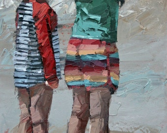 Giclee art print from my impressionist oil painting 'Watching The Waves'.