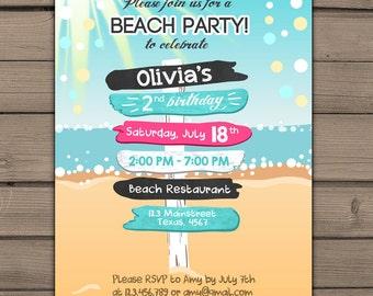 Beach Party Invitation Beach invitation Beach birthday invitation Beach Bash Summer invitation Pink purple girl Digital PRINTABLE ANY AGE