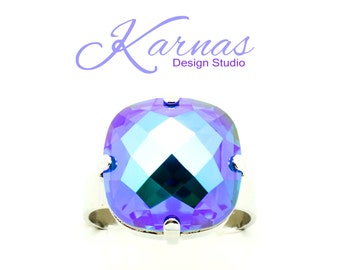 BLUE LAGOON 16mm Classical Crystal Adjustable Ring Made With Swarovski Elements *Pick Your Finish *Karnas Design Studio *Free Shipping*