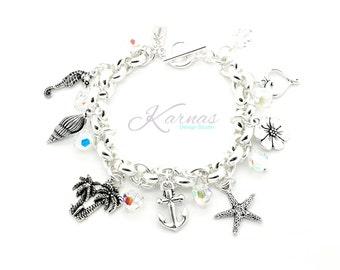 ISLAND CHARM Bracelet Made With 8mm Swarovski Elements Beads *Sterling Overlay *Karnas Design Studio *Free Shipping*