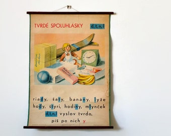 Doll / toys / vintage wall chart / classroom poster / kid's room wall art / original poster