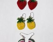 BEADED FRUIT EARRINGS (hand embroidered) 3 cm