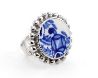 China and silver ring, Blue Willow ring, Sterling silver unique jewelry, Sterling ring