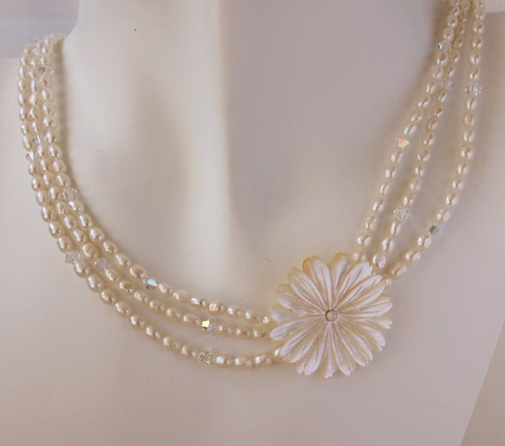 Items Similar To Tropical Flower Pearl Necklace Hawaiian