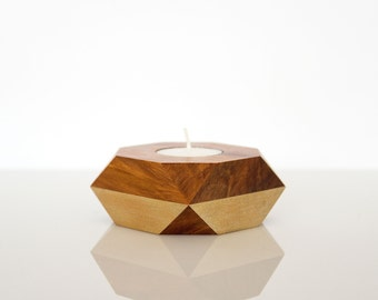 Geometric tealight holder — ancient kauri