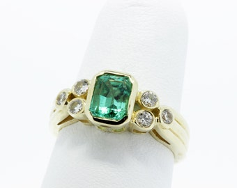 Genuine Emerald and Diamond 14K Yellow Gold Ring