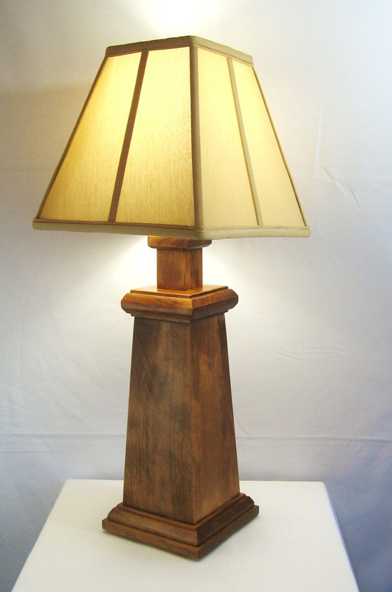 Handmade alder wood table lamp set of 2 mission arts for Crafting wooden lamps