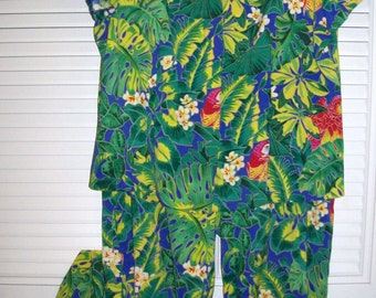 Vintage  by Clere Two Piece  Women's Jungle Floral Easy Travel Resort Vacation Lovely  Size 12