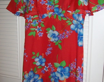 Vintage Hawaiian Maxi Dress Size 8 - 10  by Sidon - Romantic at-home luscious and long