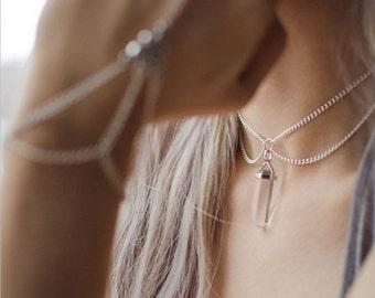 Natural Quartz Crystal Choker Chain