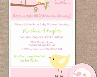 Bird Baby Shower Invitation, Bird Baby Shower Invite, Mommy and Baby Bird Baby Shower Invitation  (#312)
