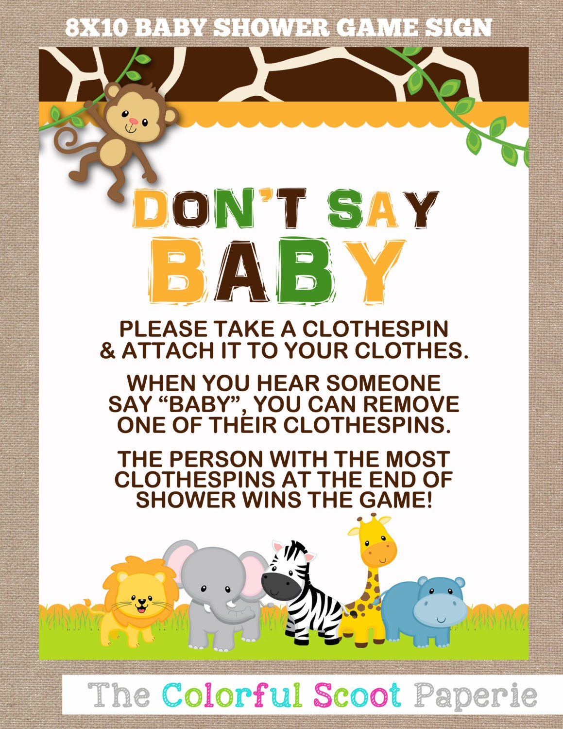instant download jungle baby shower don 39 t say by thecolorfulscoot