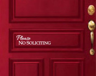 Please No Soliciting Decal for Door or Window