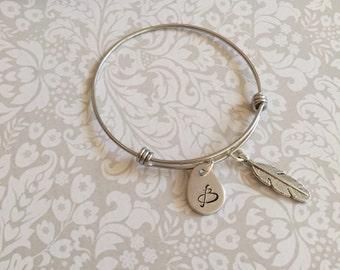 Initial bracelet - Hand stamped initial bangle - Stainless steel bracelet - Tear drop bracelet - Feather bracelet - Personalized jewelry -