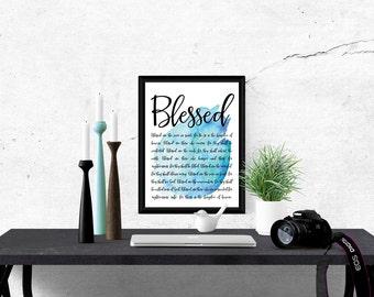 Blessed. Beatitudes. Matthew 5. Instant download printable. Bible verse print. Christian wall art. Home decor. Blue watercolor artwork.