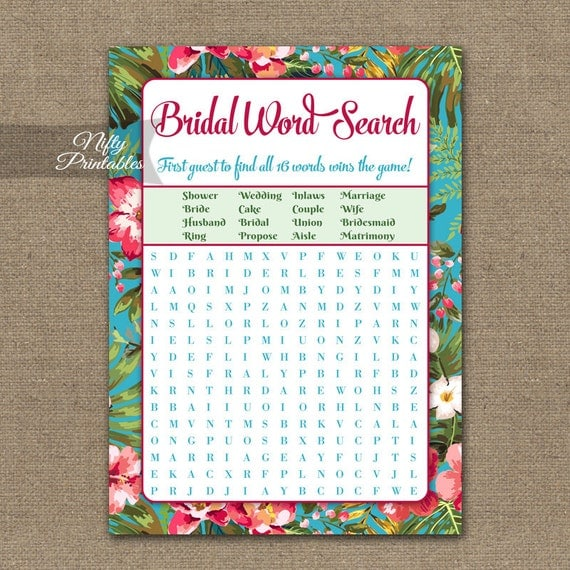 Bridal Shower Word Search Game Hawaiian Bridal Shower Game