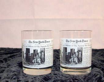 New York Times, Bicentennial bar glasses, July 3, 1976, Wendy's, vintage