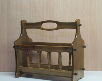 Wooden Magazine Rack with Handle ~ Retro Maple Magazine Rack ~ Mad Men Décor ~ Cabin Country Home ~ Craft Organizer ~ File Storage